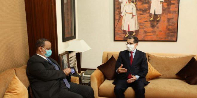 سعد الدين العثماني رئيس الحكومة يستقبل وزير الشؤون الخارجية الموريتاني الذي سلمه رسالة من الرئيس الموريتاني إلى جلالة الملك