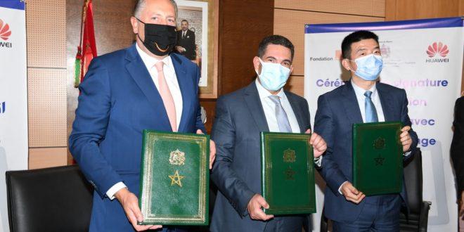 توقيع اتفاقية شراكة مع المدير العام لأورونج المغرب، والمدير العام لشركة هواوي المغرب، تهم منح هبة تشمل 1500 لوحة لمسية إلكترونية وبطاقات SIM