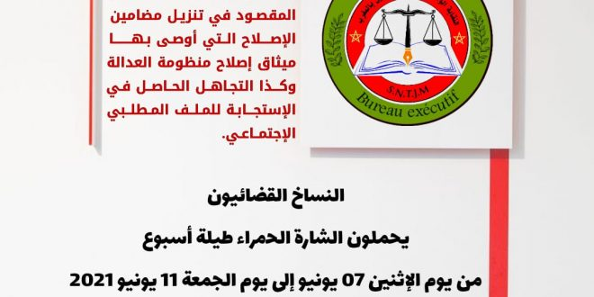 المكتب التنفيذي للنقابة الوطنية للنساخ القضائيين بالمغرب، يصدر بيان01/06/2021